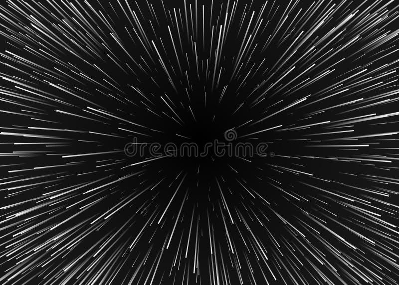 Movimiento abstracto del fondo en cosmos Viaje en spase con velocidad estupenda Las estrellas borrosas se encienden en líneas Ilu stock de ilustración