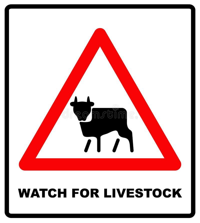 Movimiento amonestador del ganado de la señal de tráfico en el fondo blanco stock de ilustración