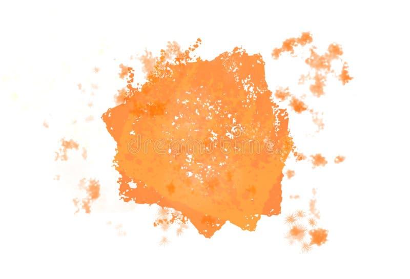 Movimiento anaranjado brillante abstracto del cepillo de la acuarela del chapoteo stock de ilustración