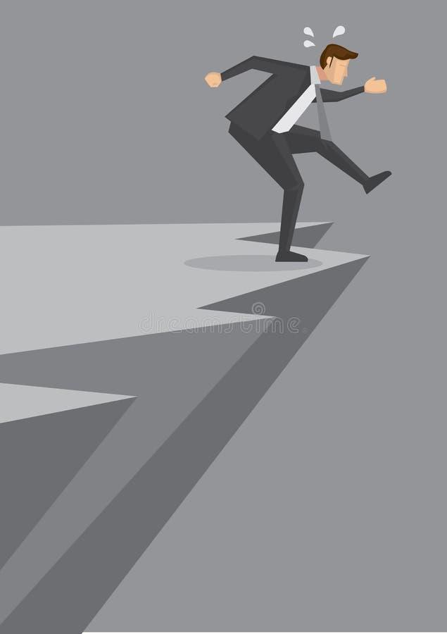 Movimiento aventurado del hombre de negocios al borde del acantilado stock de ilustración