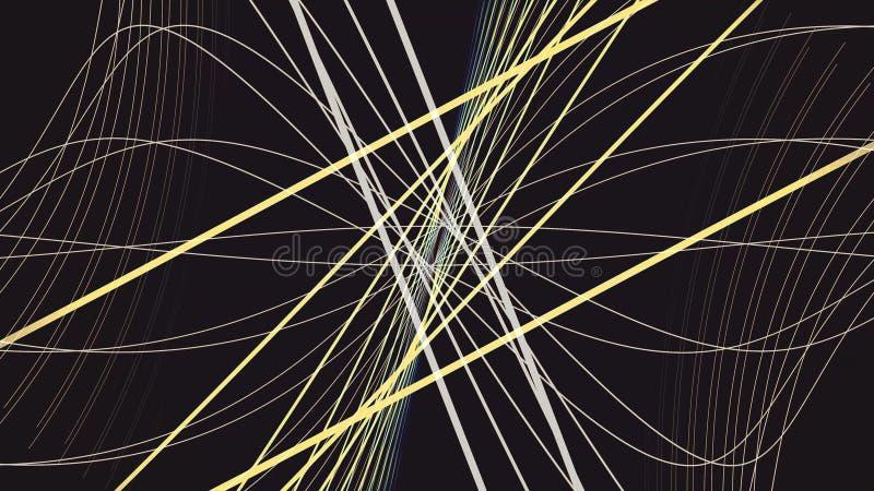 Movimiento colorido abstracto de líneas rectas y curvadas grises y amarillas en fondo negro animaci?n Rayas estrechas ilustración del vector