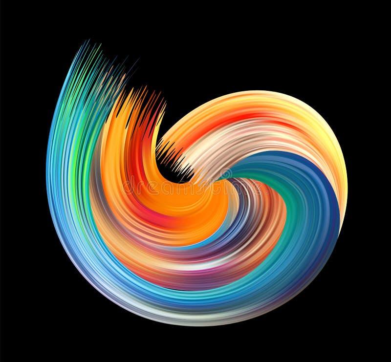 Movimiento colorido del cepillo del cartel del flujo Onda realista ilustración del vector