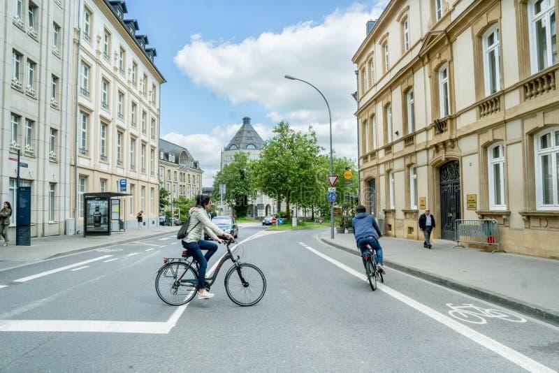 Movimiento de ciclistas en Luxemburgo fotografía de archivo libre de regalías