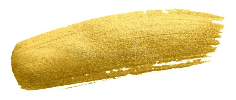 Movimiento de la mancha de la brocha del oro Mancha de oro de acrílico del color en el fondo blanco Illustrati brillante texturiz imágenes de archivo libres de regalías
