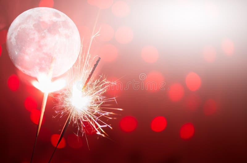 Movimiento de la Navidad y de la chispa newyear del partido imagen de archivo