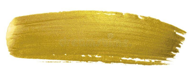 Movimiento de la pintura del cepillo del oro Mancha de oro de acrílico de la mancha del color en el fondo blanco Bandera del oro  foto de archivo