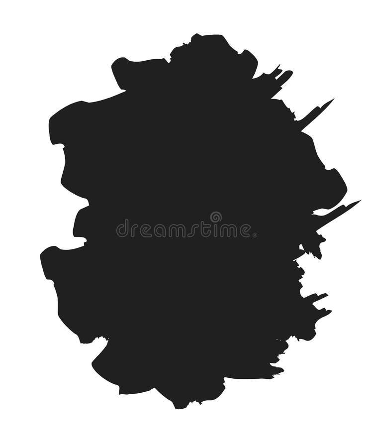 Movimiento de la pintura del cepillo Tinta de la mancha del Grunge en el marco aislado en el fondo blanco Elemento negro del chap stock de ilustración