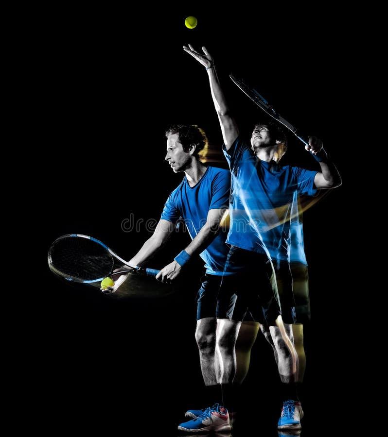 Movimiento de pintura aislado hombre de la velocidad de la luz negra del fondo del jugador de tenis imagen de archivo