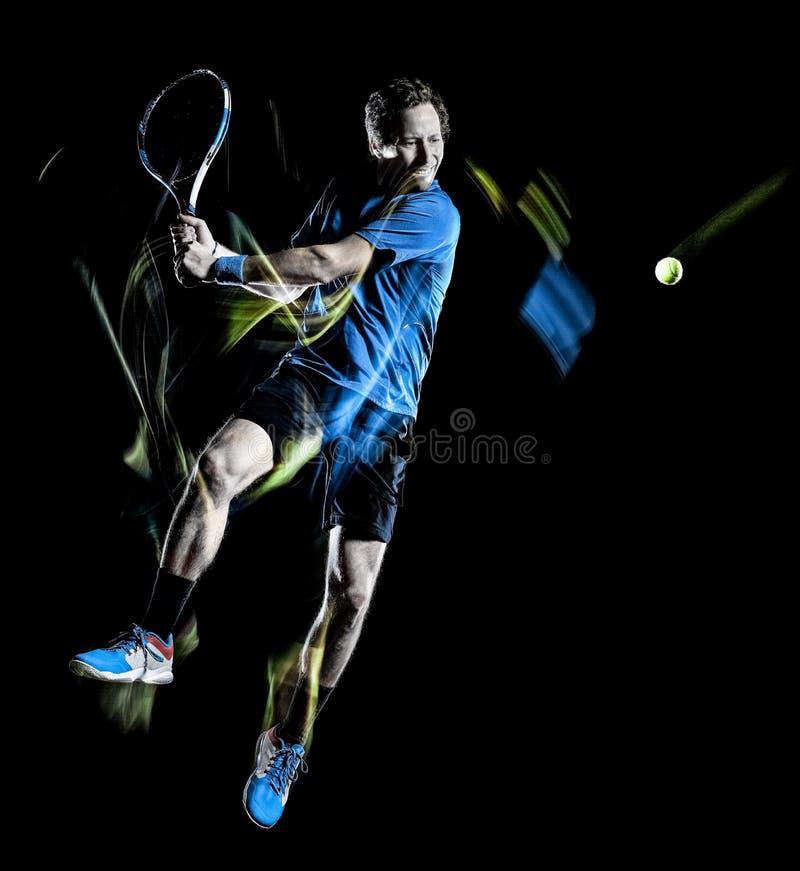 Movimiento de pintura aislado hombre de la velocidad de la luz negra del fondo del jugador de tenis fotos de archivo libres de regalías
