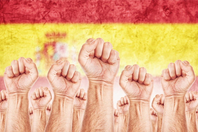 Movimiento de trabajo de España, huelga del sindicato de trabajadores imagenes de archivo