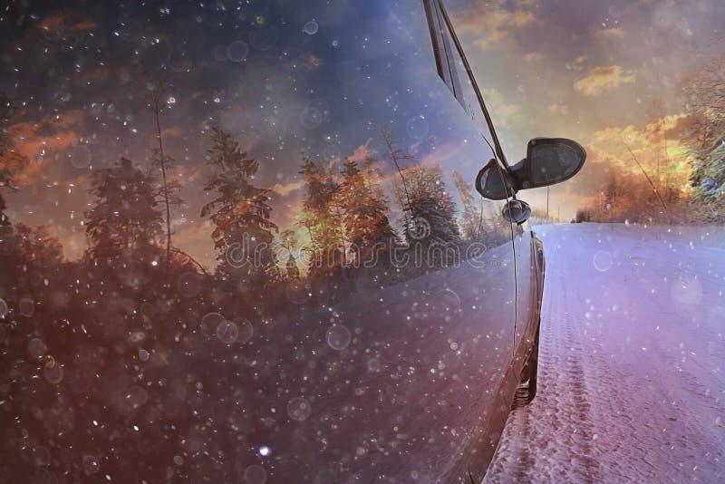movimiento del camino del invierno foto de archivo