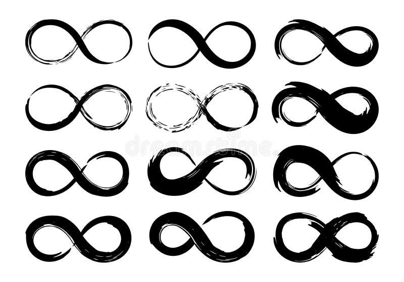 Movimiento del cepillo de la tinta de los símbolos del infinito ilustración del vector