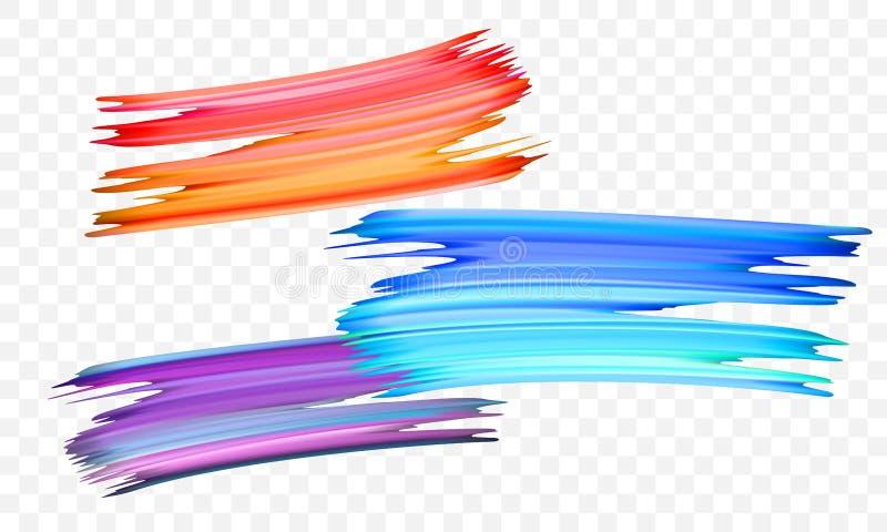 Movimiento del cepillo de pintura acrílica Vector la naranja brillante, el terciopelo o la brocha púrpura y azul de la pendiente  libre illustration