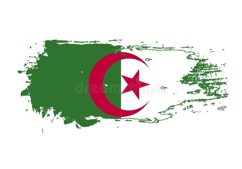 Movimiento del cepillo del Grunge con la bandera nacional de Argelia Bandera de la pintura de la acuarela Símbolo, cartel, bander ilustración del vector