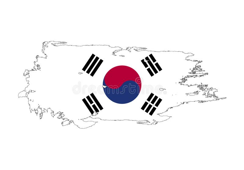 Movimiento del cepillo del Grunge con la bandera nacional de la Corea del Sur Bandera de la pintura de la acuarela Símbolo, carte ilustración del vector
