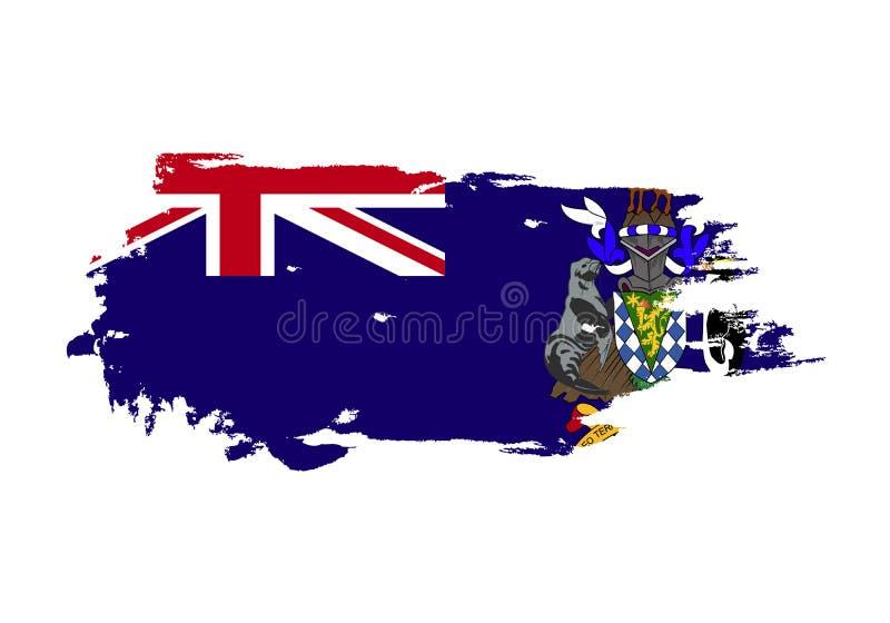 Movimiento del cepillo del Grunge con la bandera nacional del sur de Georgia Bandera de la pintura de la acuarela Símbolo, cartel stock de ilustración
