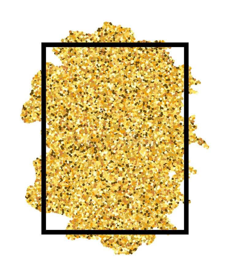 Movimiento del cepillo del oro en fondo blanco aislado marco negro Arena de oro con brillo Frontera brillante de la textura del b ilustración del vector