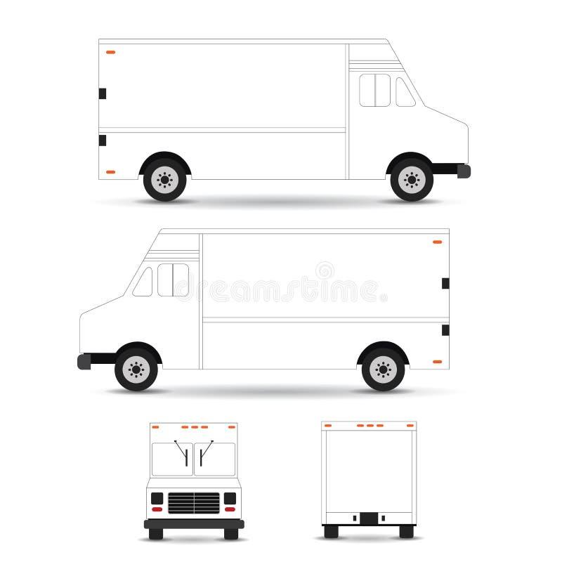 Movimiento del esquema de la plantilla del camión de la comida en el fondo blanco Puede ser utilizado para la identidad corporati stock de ilustración