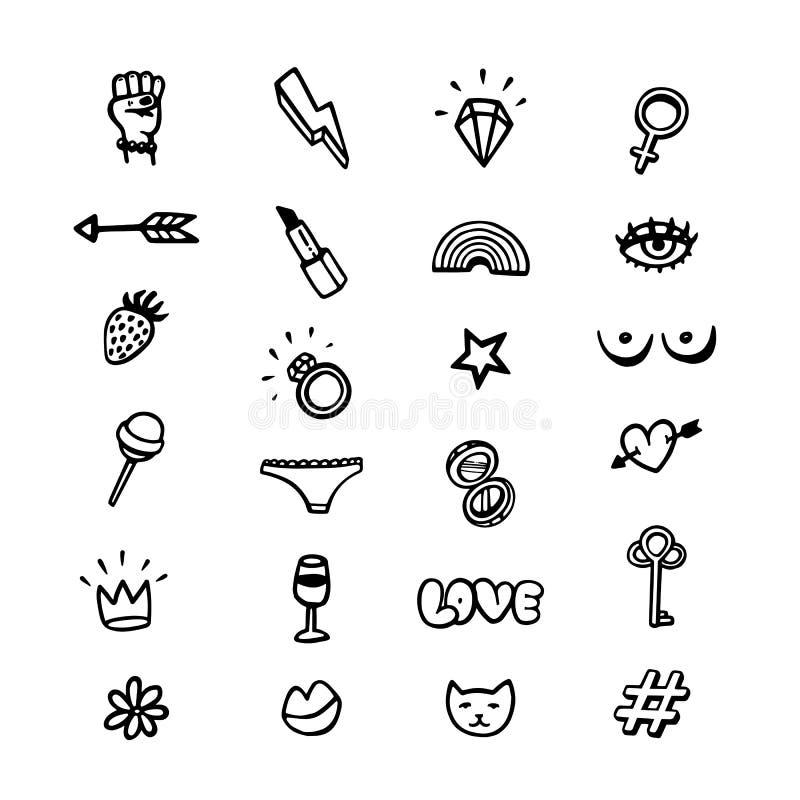 Movimiento del poder de la muchacha Sistema de la feminista del estilo del garabato de iconos en el fondo blanco Movimiento femin stock de ilustración