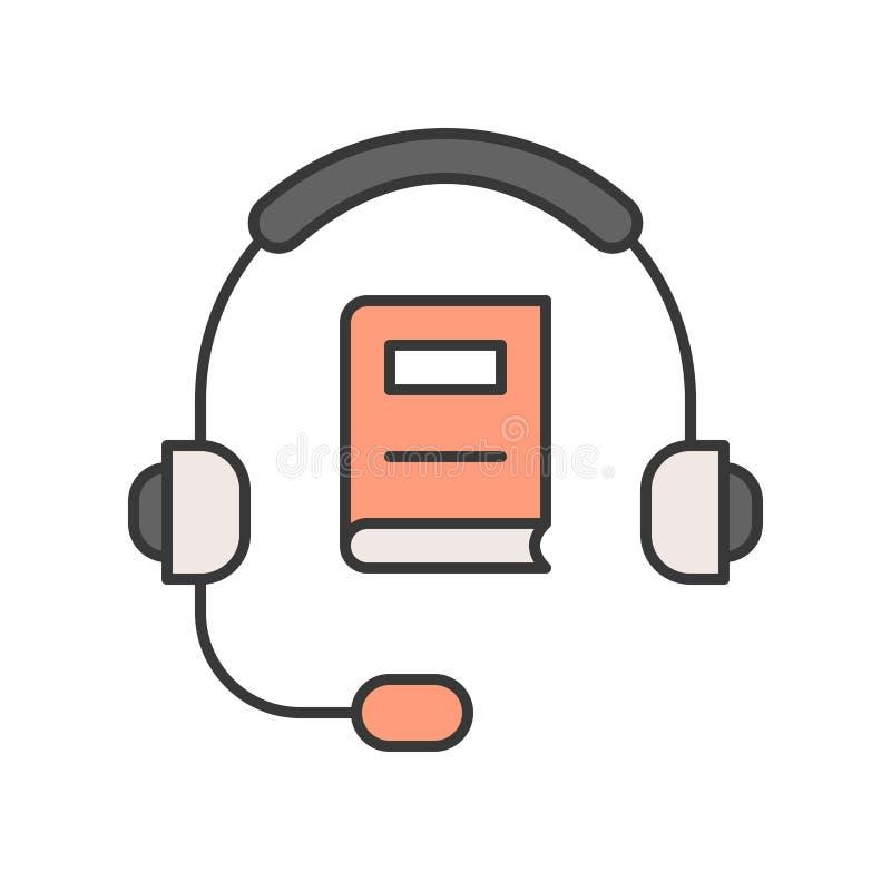 Movimiento editable o del auricular y del libro, de la tecnología y del aprendizaje electrónico libre illustration