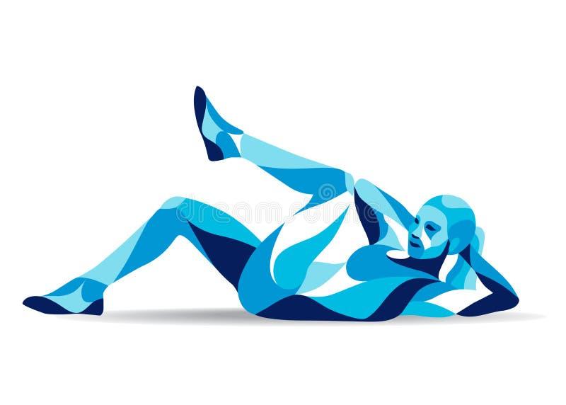 Movimiento estilizado de moda del ejemplo, ABS del entrenamiento de la mujer de la aptitud, línea silueta del vector libre illustration