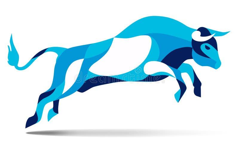 Movimiento estilizado de moda del ejemplo, toro que salta, línea silueta del vector de salvaje, stock de ilustración