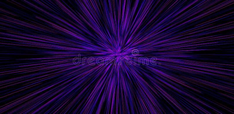 Movimiento Hyperspace en galaxia Concepto de viaje intergaláctico Starburst stock de ilustración