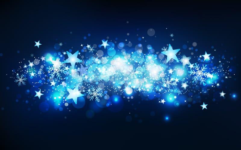 Movimiento mágico azul de las estrellas fugaces, estación del invierno, confeti de las estrellas, copos de nieve y polvo que caen ilustración del vector