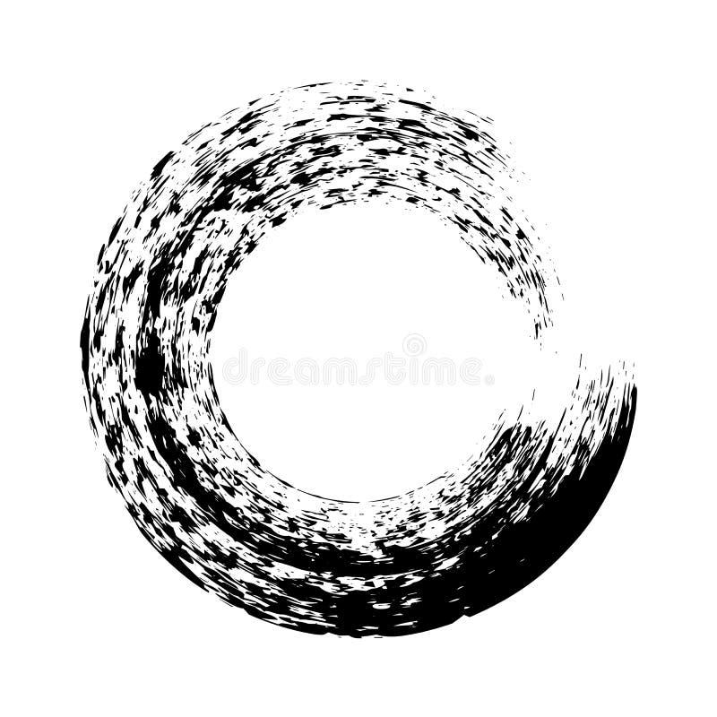 Movimiento negro del cepillo de la ronda de la tinta en el fondo blanco Ejemplo del vector de las manchas del c?rculo del grunge libre illustration