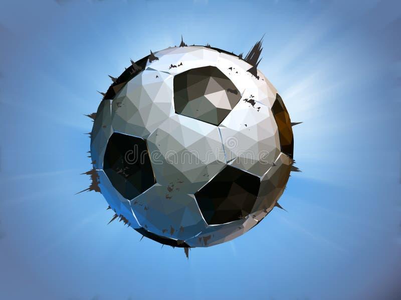 Movimiento poligonal del impacto del balón de fútbol en fondo azul ilustración del vector
