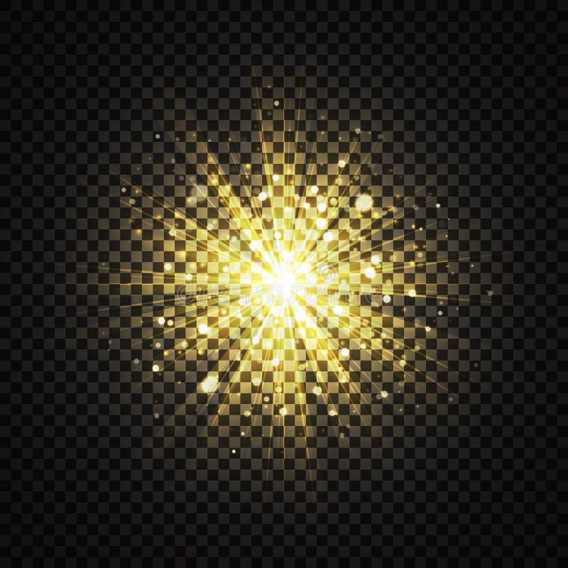 Movimiento propio amarillo transparente del brillo ligero que brilla intensamente libre illustration