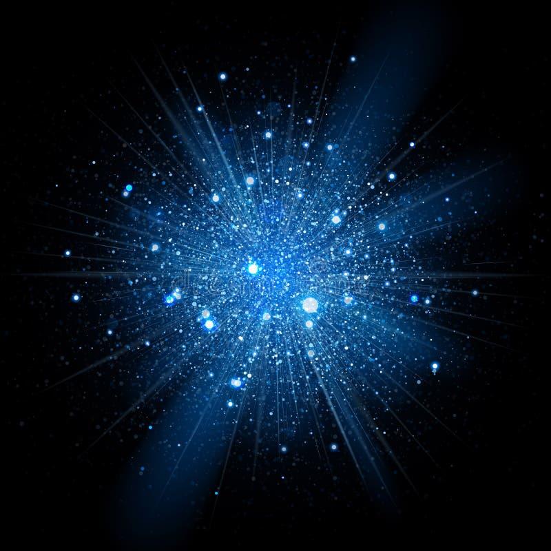 Movimiento propio de las partículas azules del brillo sparkling ilustración del vector