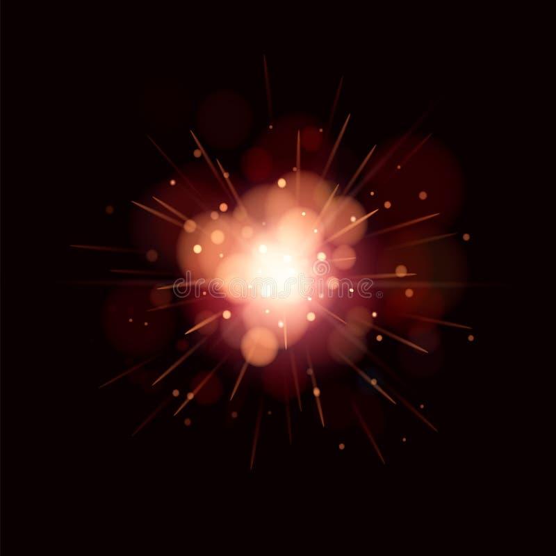Movimiento propio rojo del brillo ligero que brilla intensamente Textura chispeante del resplandor mágico El polvo de estrella má stock de ilustración