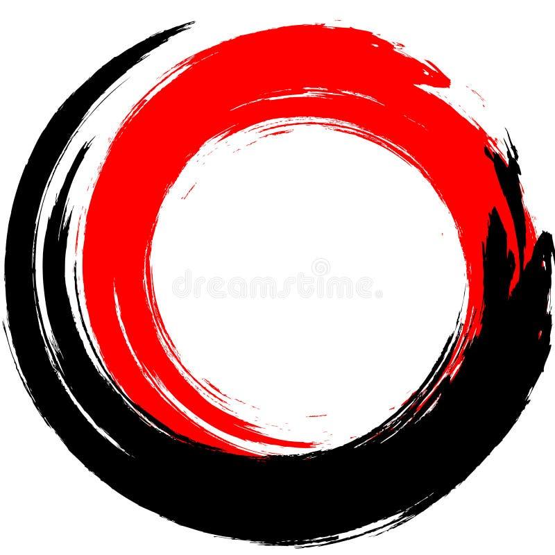 Movimiento redondo de la tinta negra y roja en el fondo blanco Ejemplo del vector de las manchas del círculo del grunge stock de ilustración