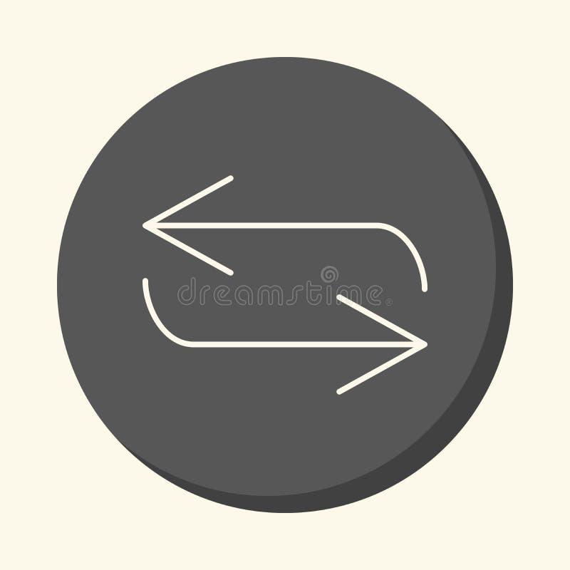 Movimiento reverso de la flecha, icono linear redondo con la ilusión del volumen, cambio simple del color ilustración del vector