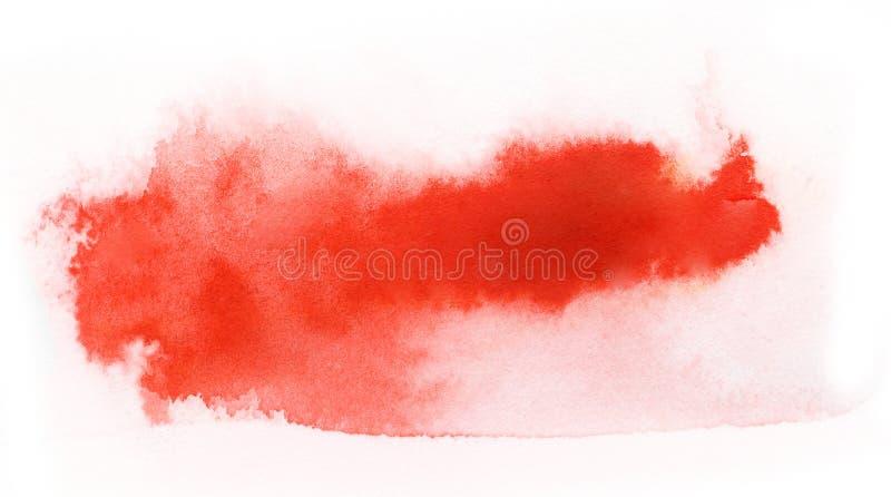 Movimiento rojo del cepillo de pintura de la acuarela fotografía de archivo