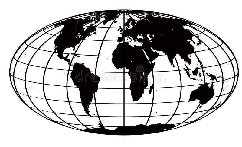 Movimiento y correspondencia de mundo negra ilustración del vector