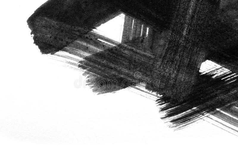 Movimientos abstractos del cepillo de la acuarela de la pintura en backgr del Libro Blanco stock de ilustración