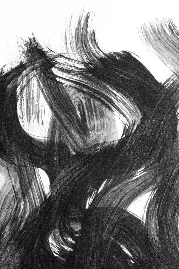 Movimientos abstractos del cepillo de la acuarela de la pintura en backgr del Libro Blanco ilustración del vector
