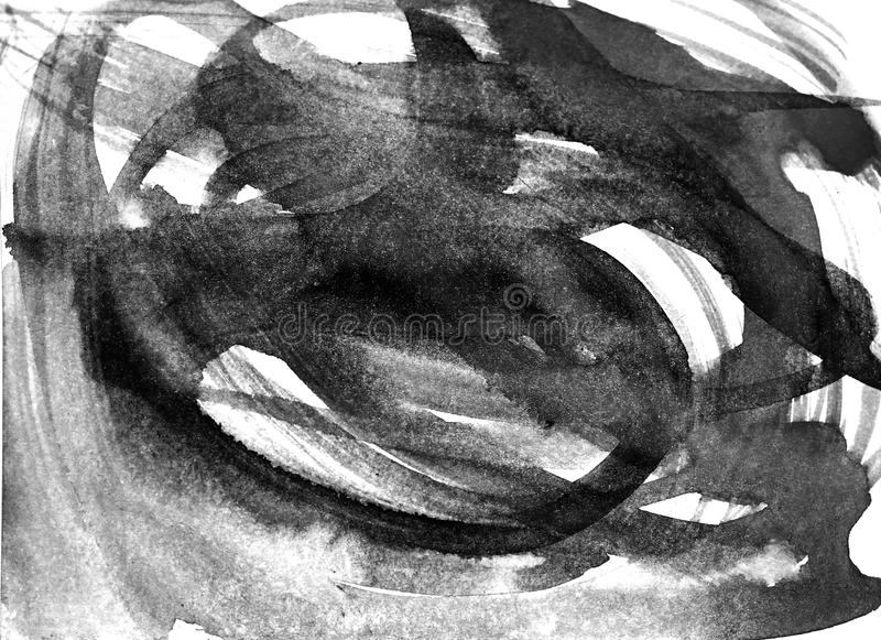 Movimientos abstractos del cepillo de la acuarela de la pintura en backgr del Libro Blanco libre illustration