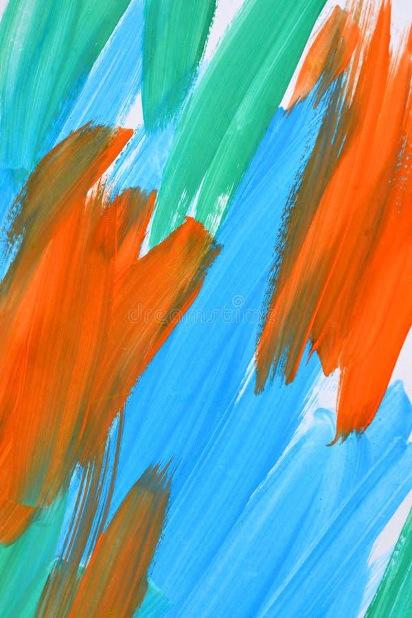 Movimientos abstractos del fondo de la pintura azules, de la naranja y del verde imágenes de archivo libres de regalías