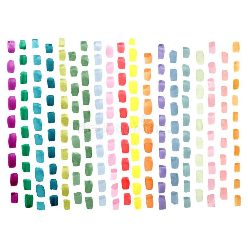Movimientos abstractos pintados a mano del cepillo en colores verdes rosados amarillos azules en el fondo blanco libre illustration