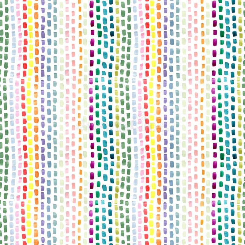 Movimientos abstractos pintados a mano del cepillo en colores verdes rosados amarillos azules en el fondo blanco Repetición incon stock de ilustración