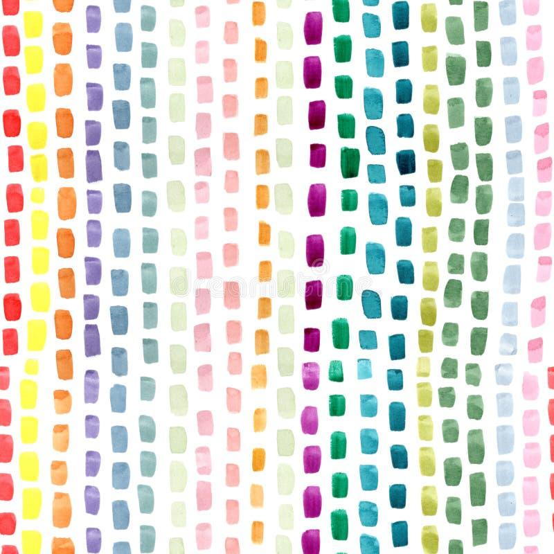 Movimientos abstractos pintados a mano del cepillo en colores verdes rosados amarillos azules en el fondo blanco Repetición incon libre illustration