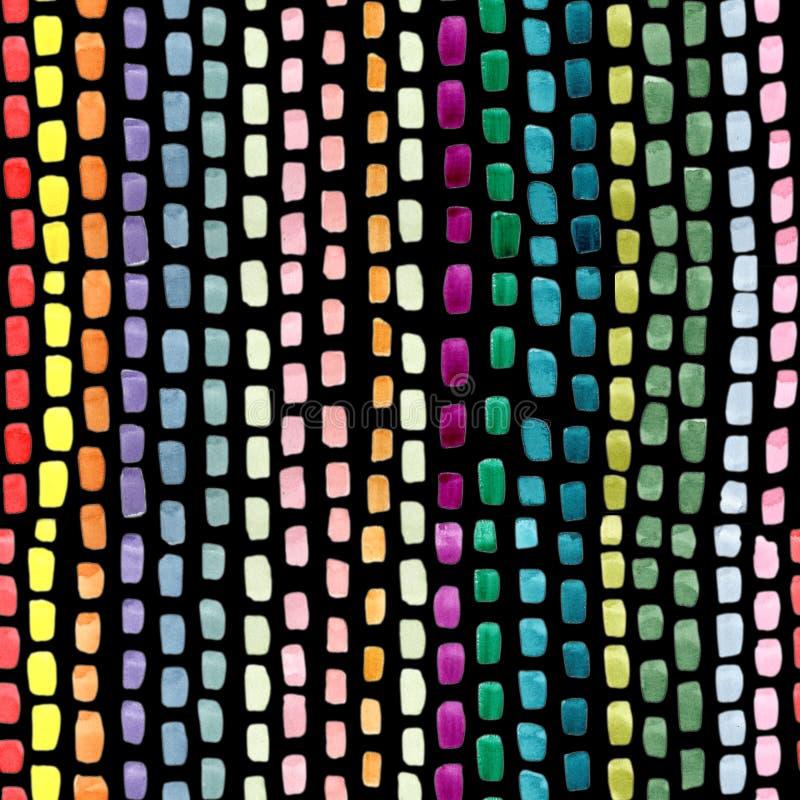 Movimientos abstractos pintados a mano del cepillo en colores verdes rosados amarillos azules en fondo negro Repetición inconsúti libre illustration