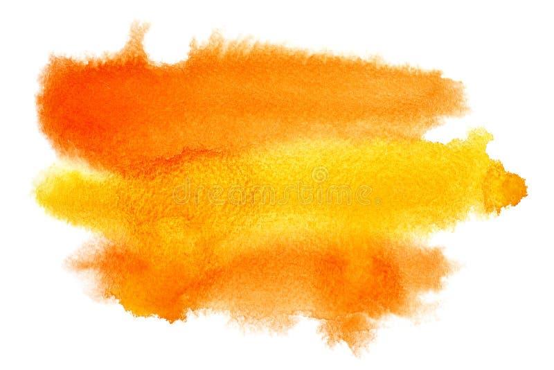 Movimientos amarillo-naranja del cepillo de la acuarela stock de ilustración