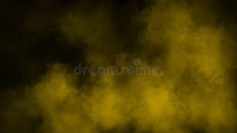 Movimientos amarillos del humo de la textura del extracto en un fondo negro Elemento del dise?o foto de archivo