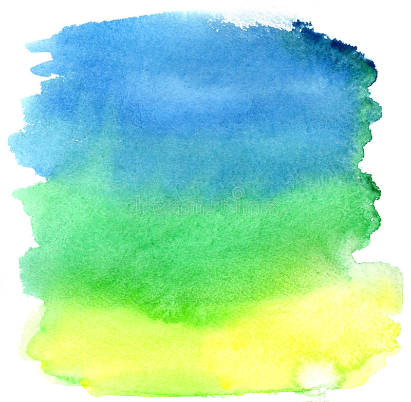 Movimientos amarillos, verdes y azules del cepillo de la acuarela imagen de archivo libre de regalías