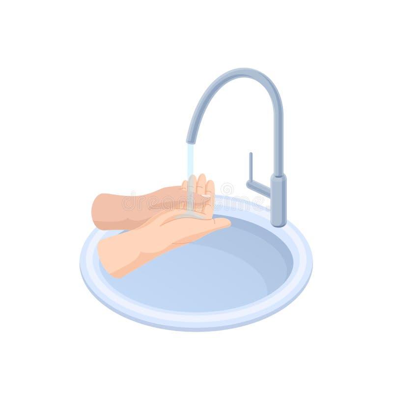 Movimientos apropiados cuando las manos que se lavan riegan, debajo del grifo, sobre fregadero ilustración del vector