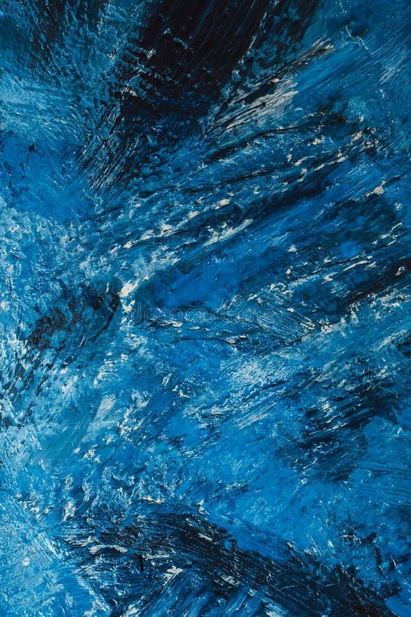 Movimientos azules abstractos de la pintura en el fondo fotografía de archivo